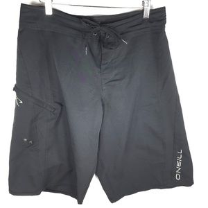 O'Neill Black Board Shorts Men's 32 Plain Solid